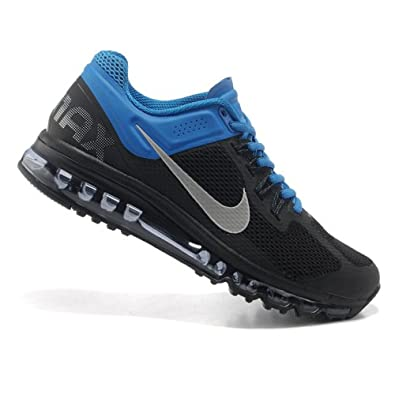 nike耐克2013新款男女款airmax+全掌气垫跑步鞋运动鞋黑蓝高清图片