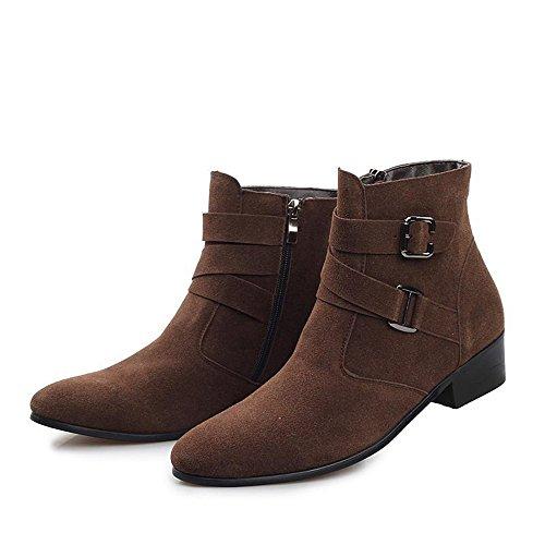 秋冬 时尚加棉保暖尖头休闲皮鞋个性潮流高帮男鞋商务潮男英伦棉鞋