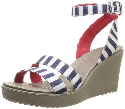 crocs Leigh 女士图形系列坡跟凉鞋 Nautical Navy/White 7 B(M) US