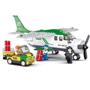 小鲁班 乐高式 航空天地c 小型运输机 乐高式拼装积木