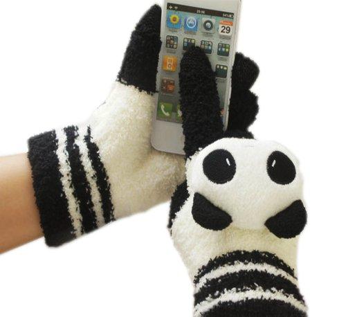 忆繁 2014新款 (I CAN TOUCH) 优质半边绒卡通 电容式触摸屏专用手套 触屏手套/双 四种花色选择  集科技和保暖为一体 有效解决冬天操作触摸屏手机和本本的冻手问题 (黑白)-图片