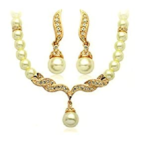 健祥 项链 耳环 新娘珍珠项链套装 女 韩国 复古 短款 结婚配饰 饰品首饰