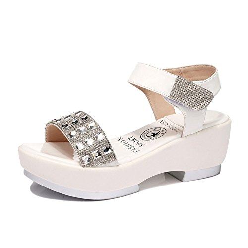 古奇天伦 2015夏韩版水钻气质女鞋厚底凉鞋日常魔术贴休闲鞋