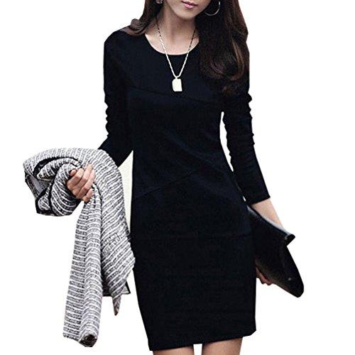 Waboats 2014秋季韩版女装新款修身秋款长袖连衣裙 韩版大码连衣裙 V01022 黑色 S