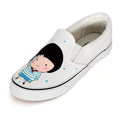 卜丁2013年新款手绘鞋帆布鞋可爱女鞋平底鞋无带套脚