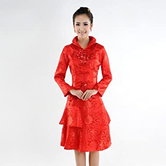 分体红色旗袍小短裙长袖晚礼服敬酒旗袍晚礼服HQ059怎么样,好不图片