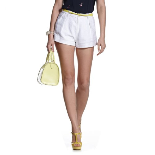 ochirly 欧时力 女式 欧美纯色A字修身亚麻短裤 1132061750000