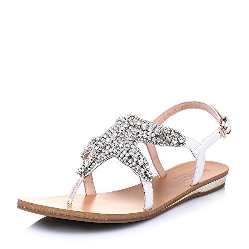 Teenmix 天美意 天美意夏季羊皮水钻搭扣女凉鞋 9B-21BL5