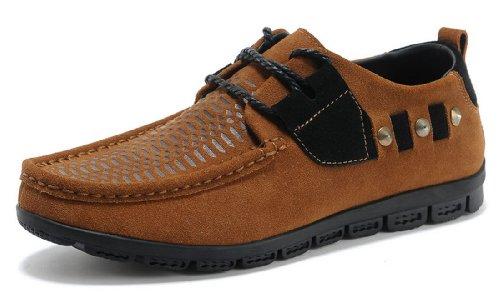 IVG 夏季新款男鞋 英伦耐磨铆钉鞋 潮流反绒板鞋 皮磨砂牛皮休闲鞋 英伦风气质男鞋
