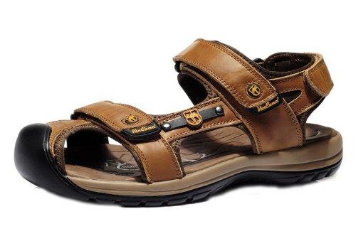 vancamel 西域骆驼 时尚潮男户外凉拖 舒适透气休闲鞋 头层牛皮手工包头凉鞋 真皮沙滩凉鞋 男鞋