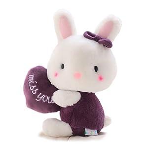 毛绒玩具布娃娃 蓝白玩偶可爱抱心卡通小兔子公仔