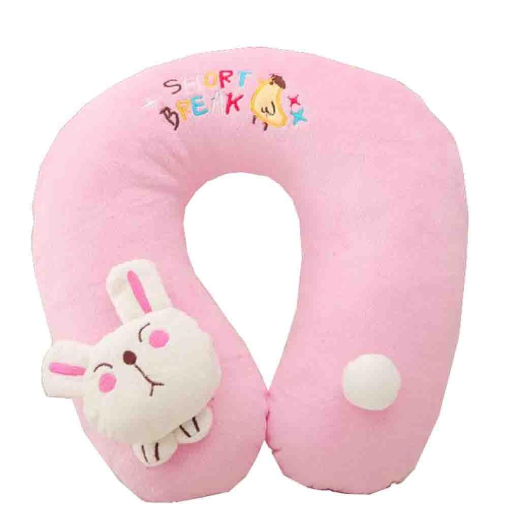 维维熊卡通绣花加小动物u型枕 粉兔(圣诞抱枕 圣诞节礼品)
