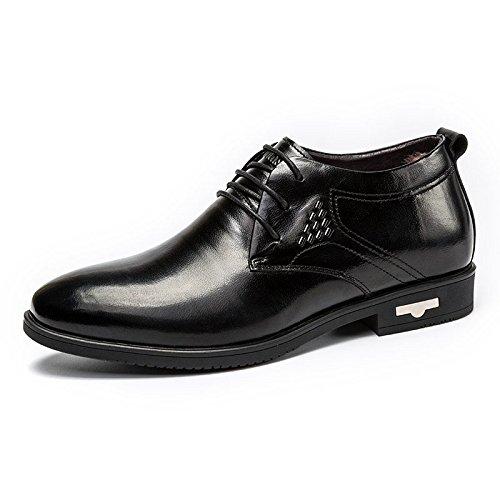 MULINSEN 木林森 男鞋男士商务皮鞋加绒保暖系带办公室正装鞋