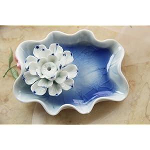 陶瓷手绘手工制作彩釉莲花熏香座b款冰蓝+蓝莲花