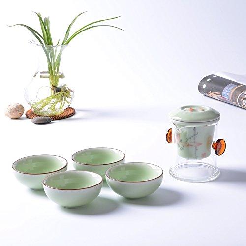 銮瓷 茶具 功夫茶具套装 手绘荷花青瓷茶具 粉青泡茶壶茶具 茶壶茶具