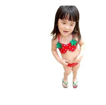 nanal香港正版草莓造型宝宝比基尼儿童泳衣泳帽xy803