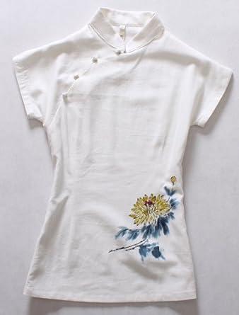 轻素 棉麻中国风手绘系列 原创手绘连袖 女式 短袖衬衫上衣 c3ce103
