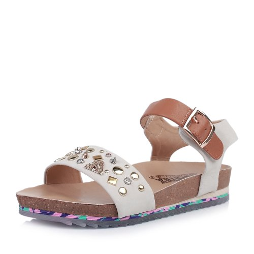 Teenmix 天美意 天美意夏季专柜同款白磨牛女凉鞋 6SP03BL4