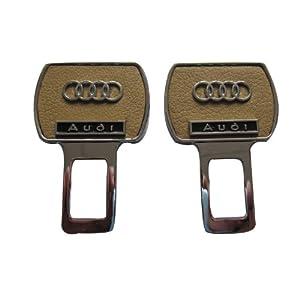 納斯裏 高級真皮安全帶靜音插扣米色 奧迪系列1對裝*2個(不鏽鋼材質+雙面真皮+立體車標)