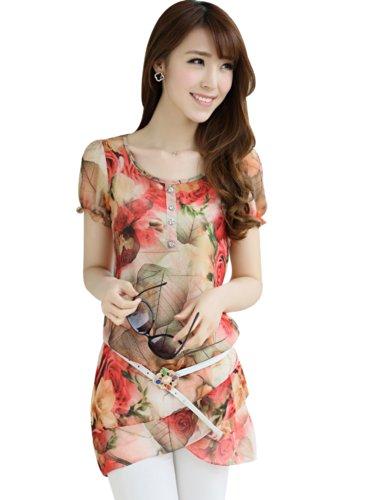 时尚千寻 2014夏季女装新款花色雪纺衫中长款不规则雪纺小衫短袖圆领打底衫 S291908