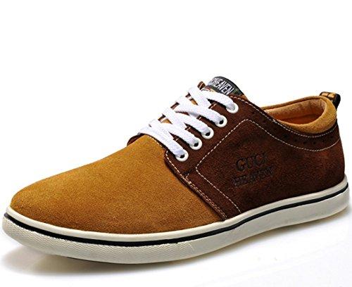 古奇天伦 男士英伦风潮流系带低帮滑板鞋潮鞋 潮流复古休闲鞋 韩版反绒皮拼色单鞋男鞋子