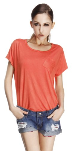 WZSY 无中生有 夏新不规则女宽松斜口袋中长款圆领口袋短袖T恤 女 纯色 打底衫 Y12-T05092