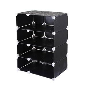南辰 四层加宽鞋柜 成人衣橱 组合书柜 收纳柜NC-XG-004 (黑压花)