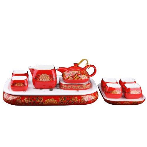 Snowwolf 雪狼 中国红 瓷器 年年好运 经典大茶具 套装 婚庆礼物 红色茶具 JC-图片