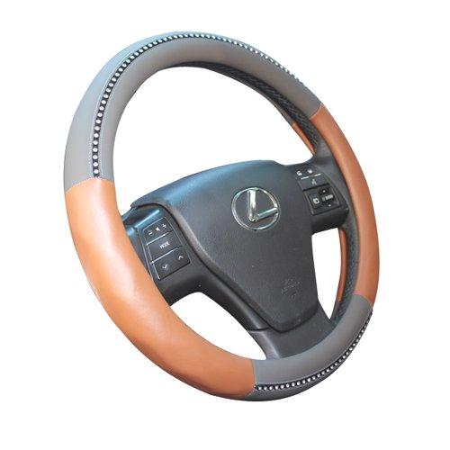 MR.MA马先生 汽车方向盘套超手感3D立体镶钻皮质硅胶把套大众奥迪透气吸汗 (灰色)-图片