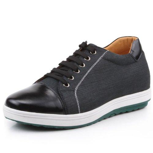 高哥GOG 男士内增高鞋 新款男式印花牛皮圆头系带潮流板鞋男鞋 增高6cm 712855
