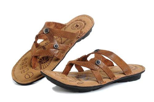 Camle 骆驼 夏季新款 清爽凉鞋 头层蛇纹牛皮 耐磨橡胶底 室内鞋 透气排湿性 男凉鞋