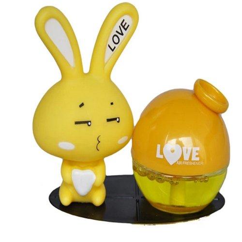 车载香水座 爱心兔汽车香水座 汽车内饰用品 卡通 可爱 (黄色柠檬款)