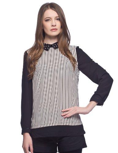 Etam 艾格 波点领条纹拼接雪纺衬衫 女式 140114032