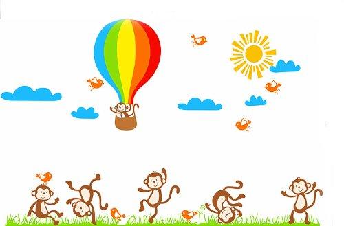 回至 壹汇 可移除墙贴 卡通热气球猴子乐园儿童房幼儿园客厅卧室墙