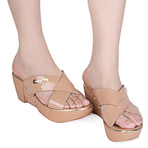 女凉拖鞋 坡跟厚底拖