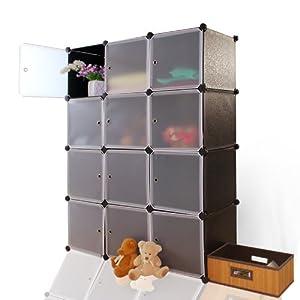 蔻丝 组合式12格简易衣柜韩式宜家宝宝衣橱 免工具安装 英伦小黑