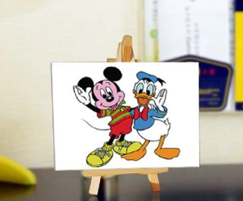 自油自画 数字油画diy手绘儿童动漫卡通迷你画 米老鼠与唐老鸭 10*15