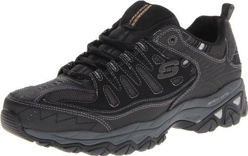 Skechers Sport Men's Afterburn Memory Foam Lace-Up Sneaker,Black/Charcoal,9 4E US