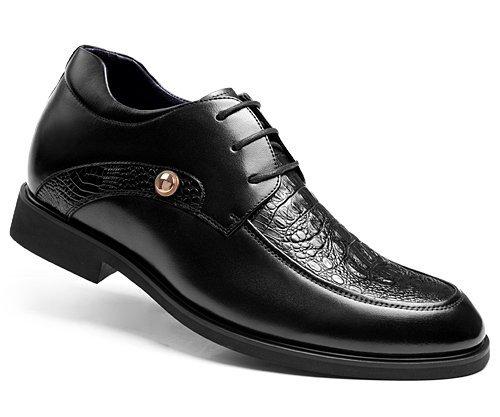 GOG(高哥)男式商务真皮正装婚鞋GF809 鳄鱼纹隐形内增高皮鞋6.5CM