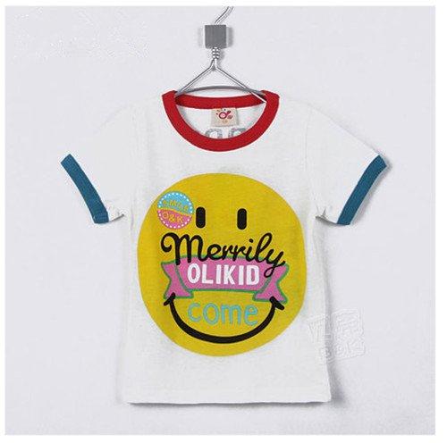 童装韩版最新夏款男童女童儿童短袖卡通笑脸T桖  白色 (130CM)-图片