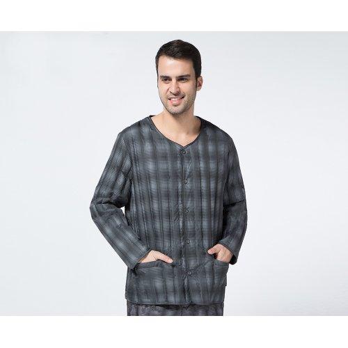 南极人 羽绒内胆 男款上衣无缝长袖羽绒服 羽绒保暖内衣 暗灰格12030