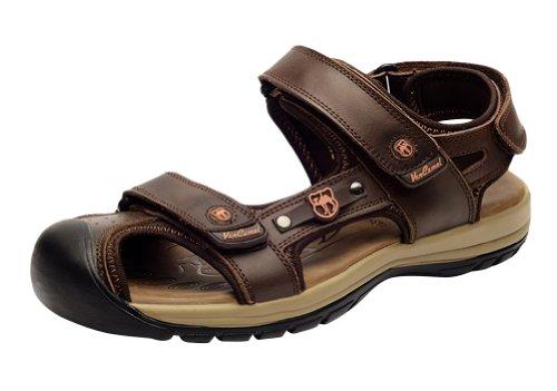 VANCAMEL 西域骆驼 夏透气男士凉鞋包头 真皮沙滩鞋正品休闲男鞋 D1314101030
