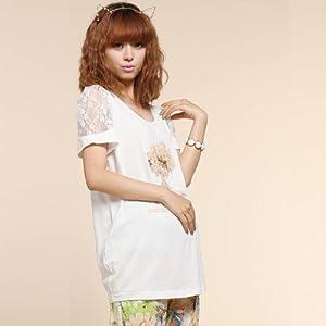 孕妇短袖t恤 夏 2013新款 孕妇蕾丝袖上衣32s236 m 白色 高清图片