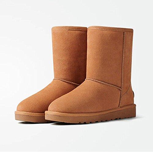 Acesc 艾斯臣 雪地靴 女靴子真皮冬靴牛皮中筒靴男女鞋子棉鞋休闲棉靴新