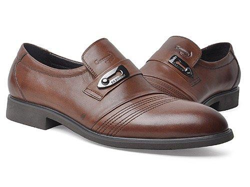 Crocodile 鳄鱼恤 英伦商务车缝线牛皮尖头套脚正装皮鞋 男 正装鞋 WA1349047 brown