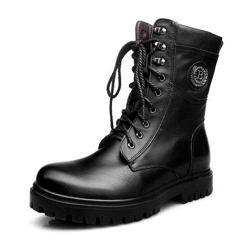 Gog 高哥 内增高男靴冬季军靴皮靴男士棉鞋马丁靴特种兵男棉靴93927