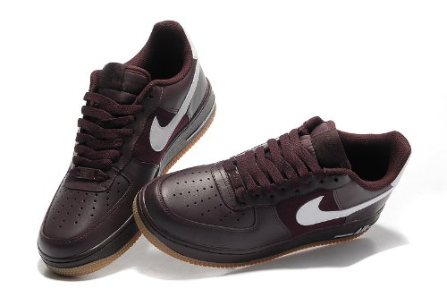 NIKE 耐克 男士休闲运动鞋 跑步鞋 板鞋 时尚板鞋 空军系列 酒红白色
