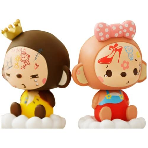 mokyo 皇冠猴 涂鸦款 汽车摆件 可爱卡通摇头公仔娃娃男女对装