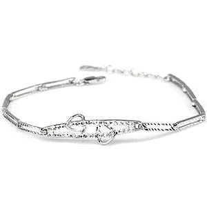 易燃火山 925纯银镀白金手链 女 送女友生日礼物 SB0032