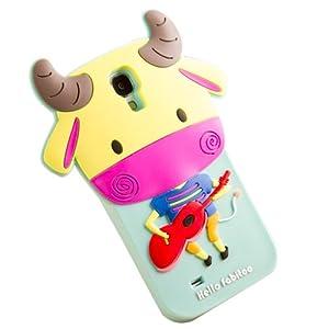 三星s4手机壳 硅胶 三星i9500卡通手机套 s4保护套 可爱 浅绿色吉他萌